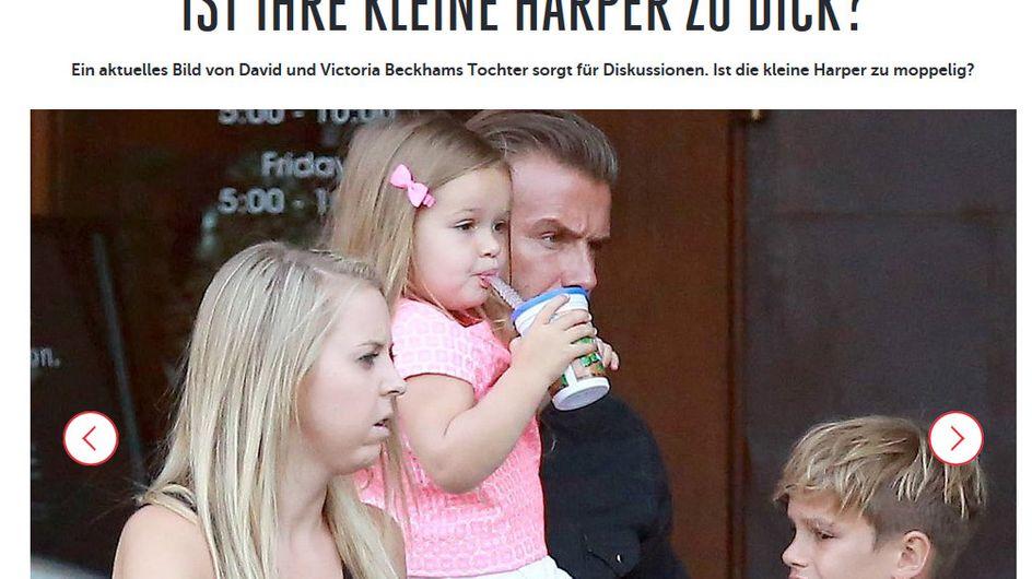 """Geht's noch?! Bunte.de fragt sich, ob die 3-jährige Harper Beckham """"zu dick"""" ist!"""