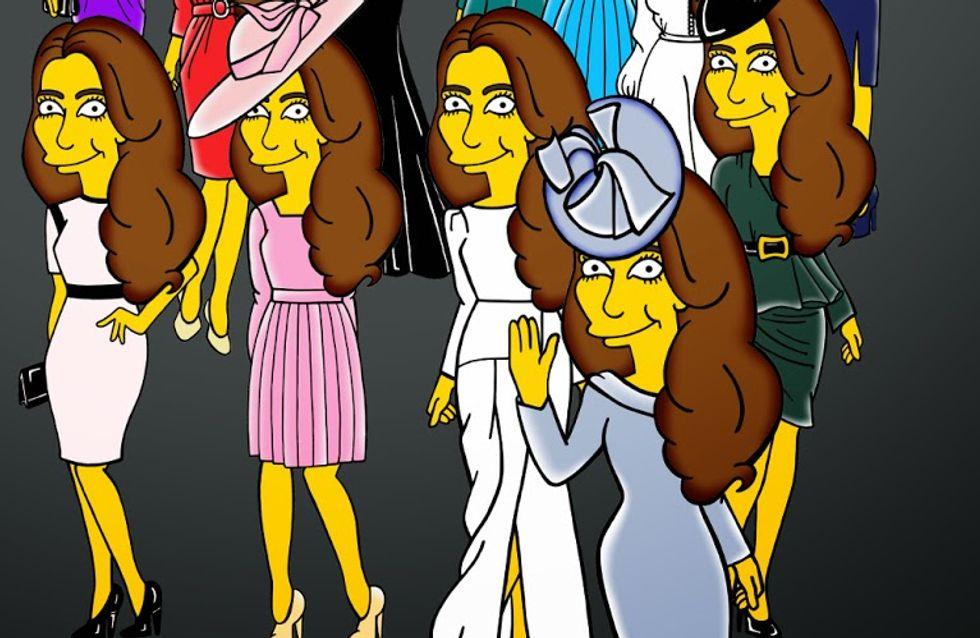 """Kate Middleton : La Duchesse et ses robes """"Simpsonisées"""" (Photos)"""