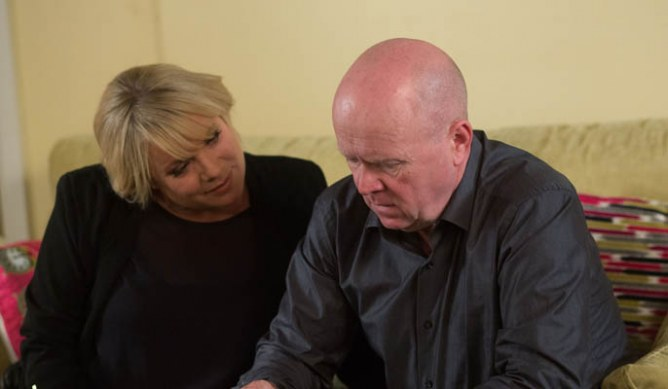 A hungover Sharon is oblivious to Phil's unease