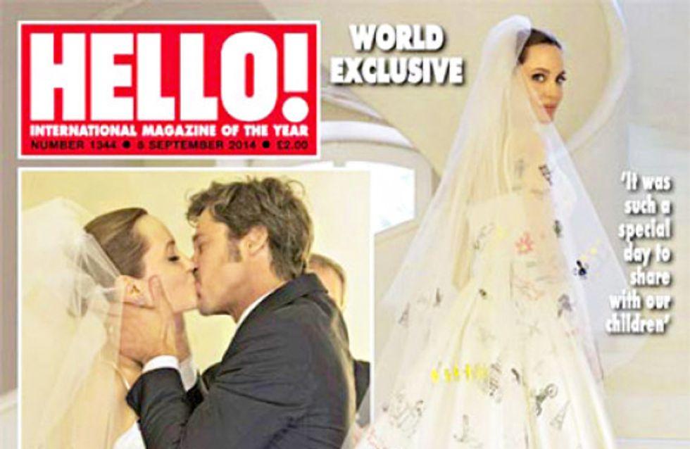 Angelina Jolie: l'abito da sposa realizzato con i disegni dei figli. Le immagini!