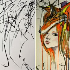 Mãe cria obras de arte a partir dos rabiscos da filha e o resultado é incrível