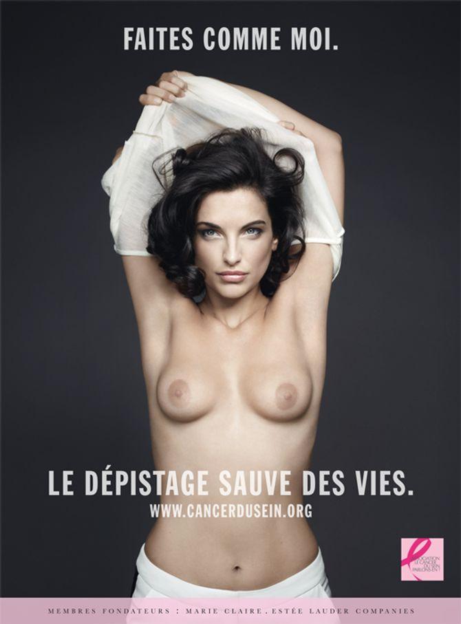 """Pauline Delpech dans la campagne de l'association """"Le cancer du sein, parlons-en""""."""
