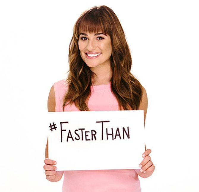 Lea Michele pour la campagne Faster Than