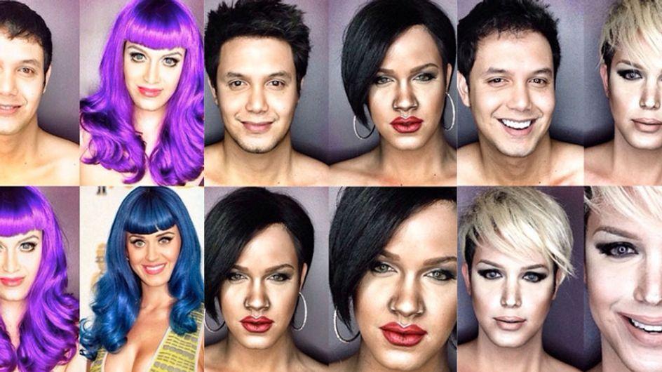 Unglaublich! Dieser Mann verwandelt sich nur durch Make-up in Katy Perry, Rihanna & Beyoncé