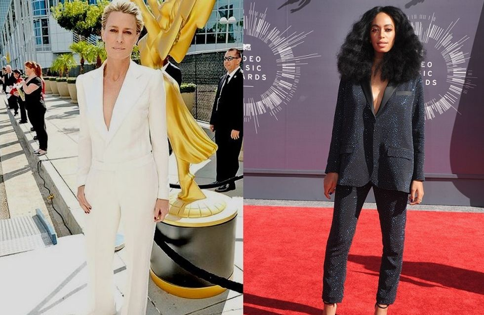 Match de looks smoking : Robin Wright VS Solange Knowles