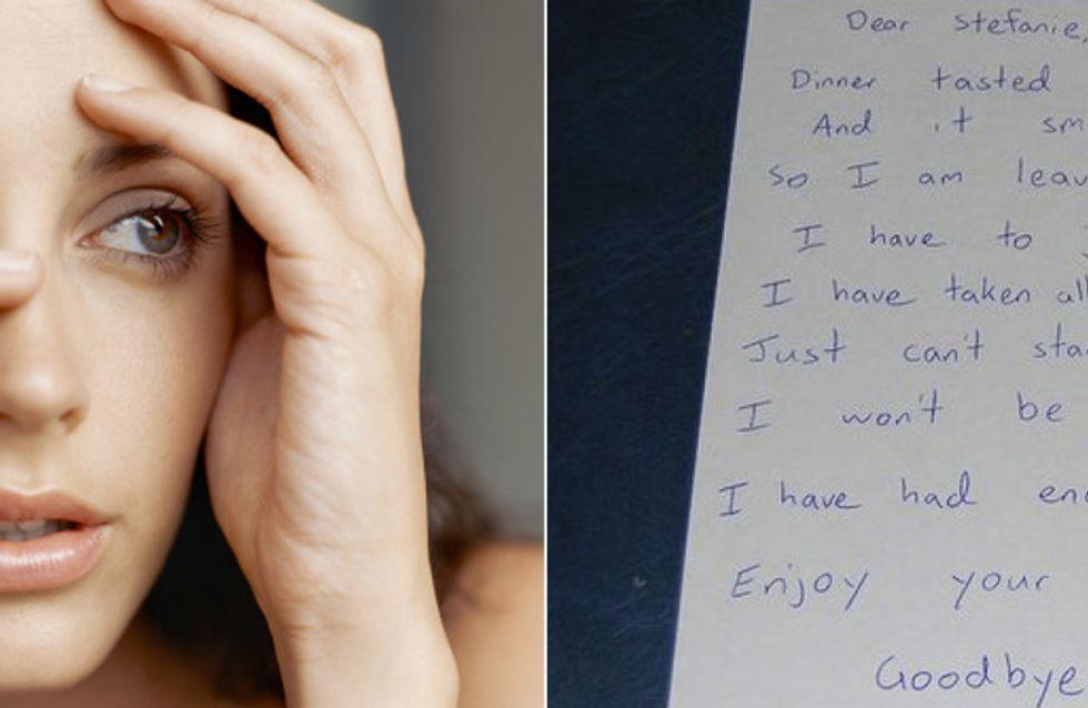 Schock: Sie kommt nach Hause und findet diesen schrecklichen Brief - doch dann dreht sie ihn um ...