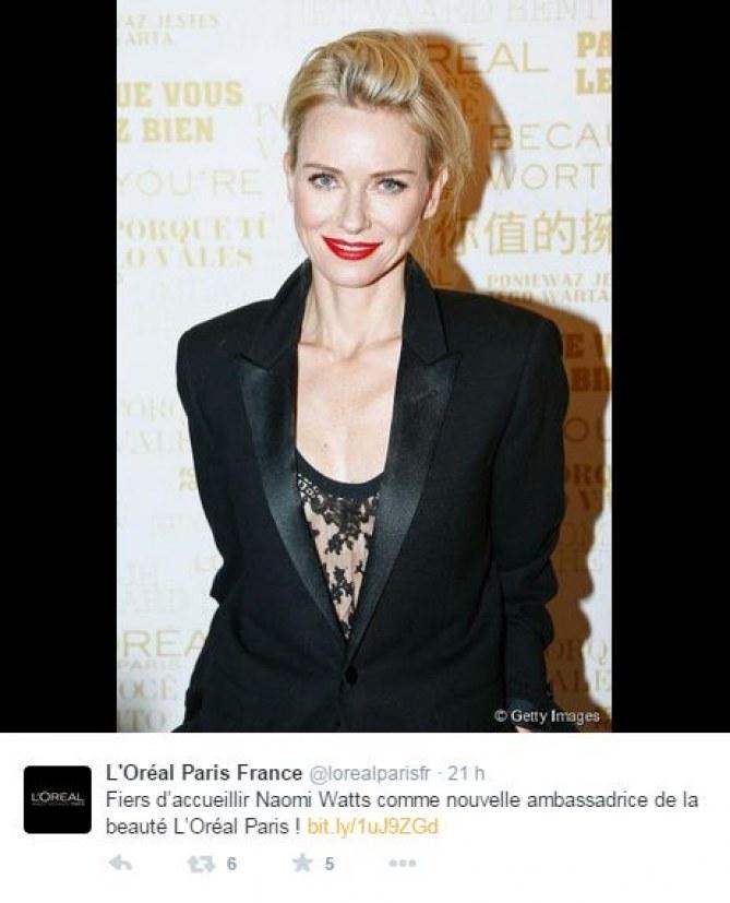 Naomi Watts devient égérie L'Oréal Paris