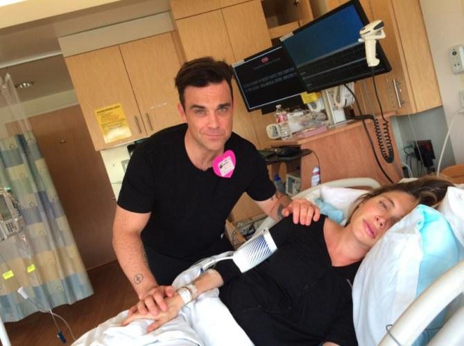 Robbie al fianco della moglie in sala parto