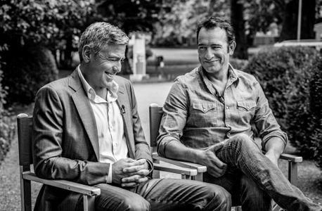 Jean Clooney et Jean Dujardin sur le tournage de la pub Nespresso