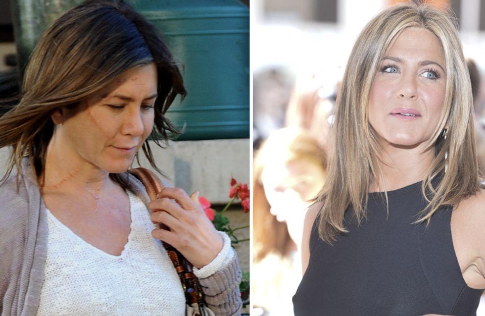 """Aniston: """"Molto meglio senza make-up!"""" Le foto dell'attrice struccata e irriconoscibile sul set"""