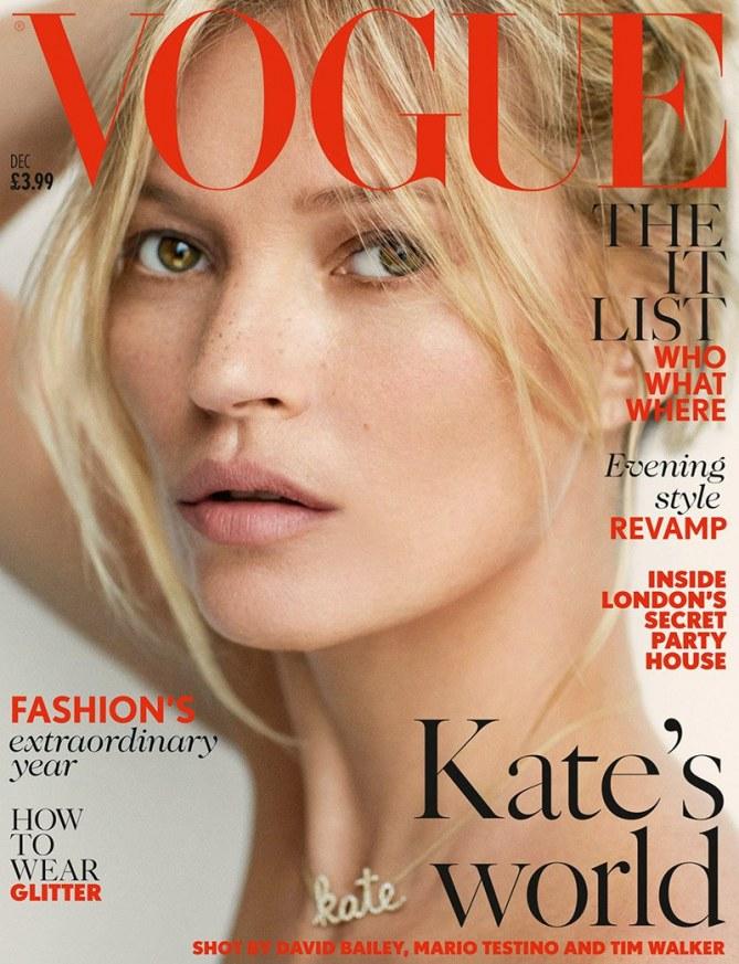Voici la première Une de Kate Moss pour Vogue UK.