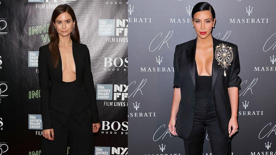 Décolleté carré : Katherine Waterston VS Kim Kardashian