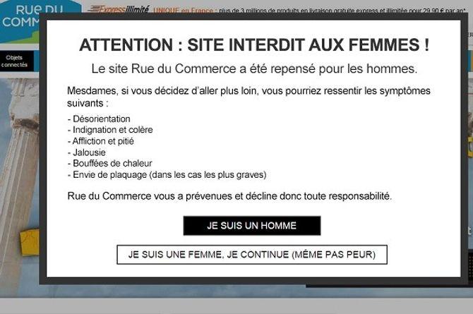 Rue du Commerce interdit son site aux femmes