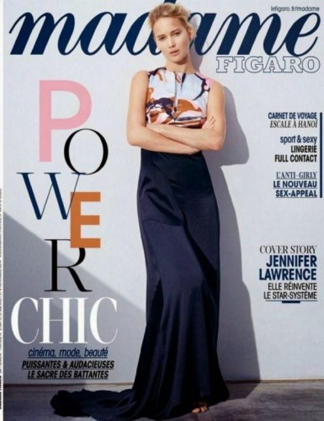 Jennifer Lawrence en couverture de Madame Figaro.