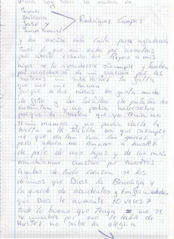 Carta a los Reyes Magos de un niño