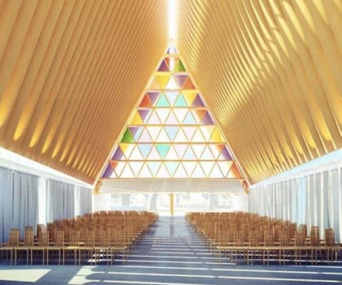 Iglesia de cartón en Nueva Zelanda