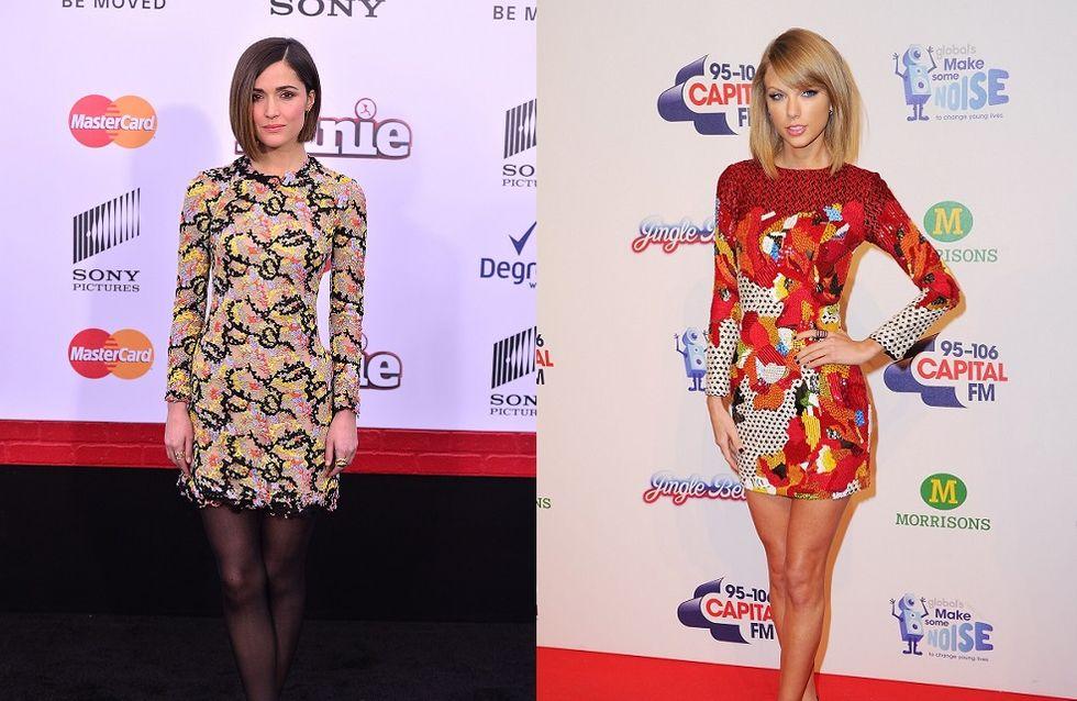 Rose Byrne VS Taylor Swift en robe bariolée