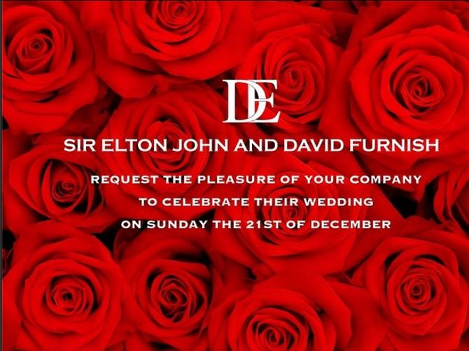 Boda de Elton John y David Furnish