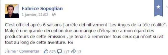 Le message de Fabrice Sopoglian annonçant son départ