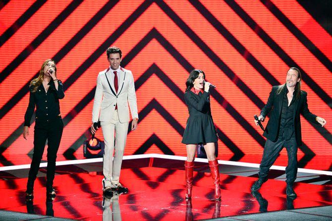 Les quatre coachs sur la scène de The Voice 4