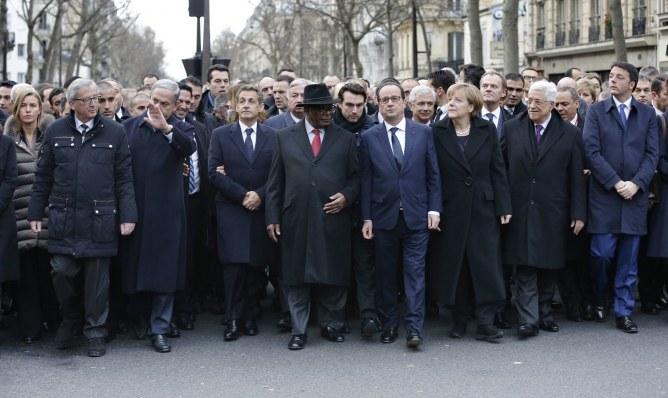 Les chefs d'Etat et représentants étrangers pendant la marche