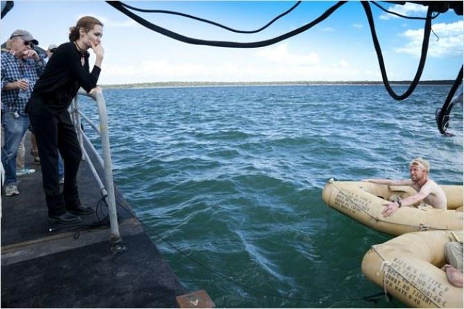 Angelina Jolie sur un tournage.