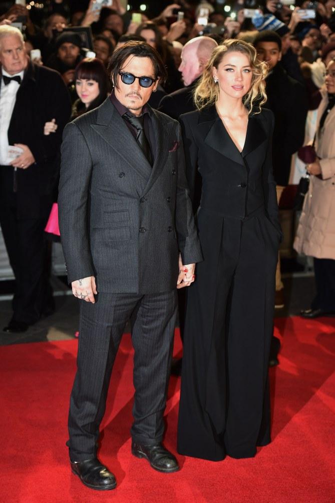 Johnny Depp et Amber Heard sur le red carpet.