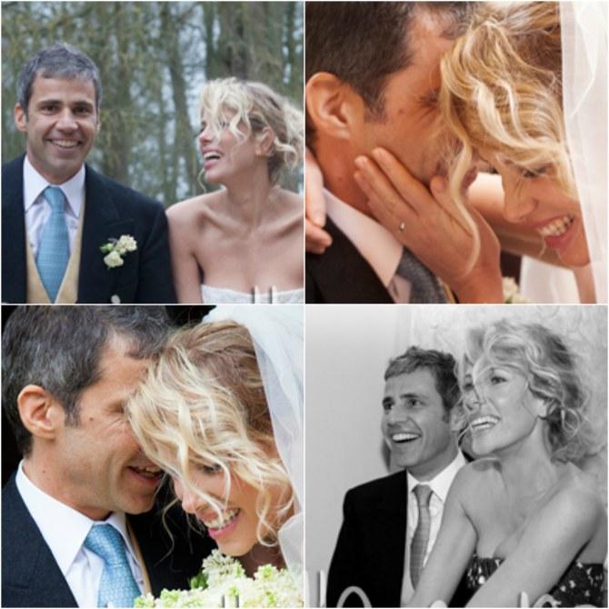 Un collage di foto del matrimonio di Alessia Marcuzzi
