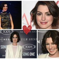 On aime la nouvelle coupe au carré d'Anne Hathaway