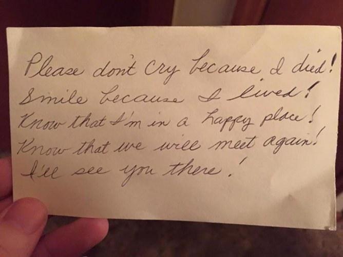 Voici le dernier message de Mimi à son mari.