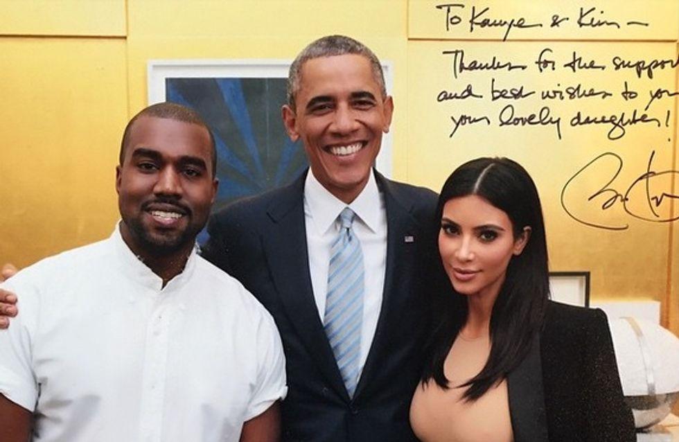 Barack Obama a réussi à faire sourire Kim Kardashian et Kanye West