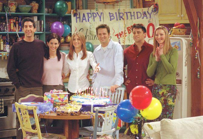 Toute la troupe de Friends en 2001
