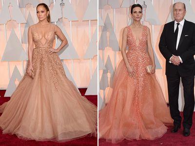 Gli abiti di J.LO e di Luciana Pedraza a confronto