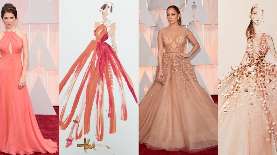 Gli abiti più belli degli Oscar in versione acquerello. I bozzetti poetici di Paper Fashion