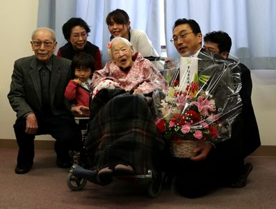 Misao Okawa fête son 117ème anniversaire