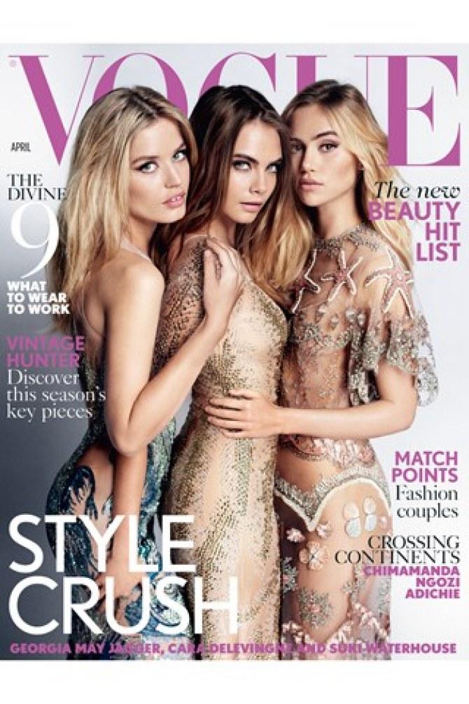 Georgia May Jagger, Cara Delevingne et Suki Waterhouse pour Vogue UK.