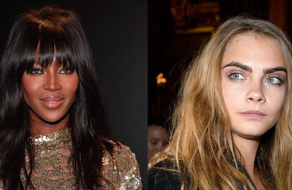 Cara Delevingne et Naomi Campbell se disputent lors de la Fashion Week