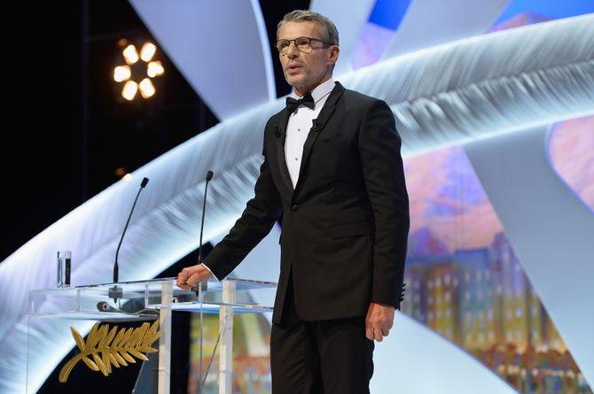 Lambert Wilson pendant son discours d'ouverture du Festival de Cannes 2014