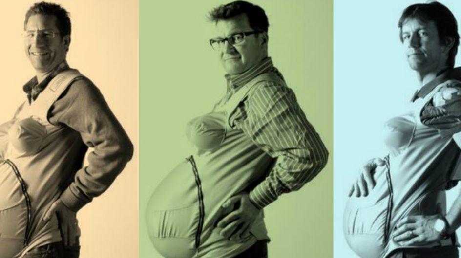 Três pais topam o desafio de ficarem grávidos durante um mês