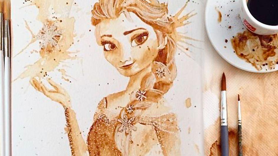 Pintando com sabor: garota faz ilustrações usando somente café