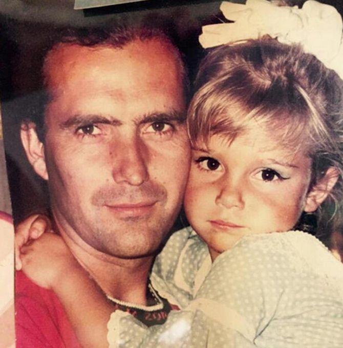 Natalia Sánchez y su padre