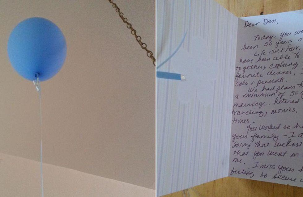 An einem einfachen blauen Ballon war ein Brief befestigt. Sein Inhalt bricht uns das Herz.