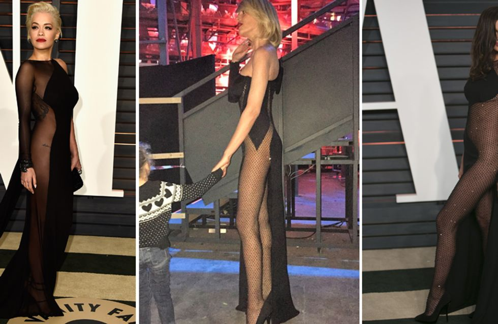 La Marcuzzi sceglie il nude look e copia Rita Ora e Irina Shayk. Ecco le tre dive a confronto!