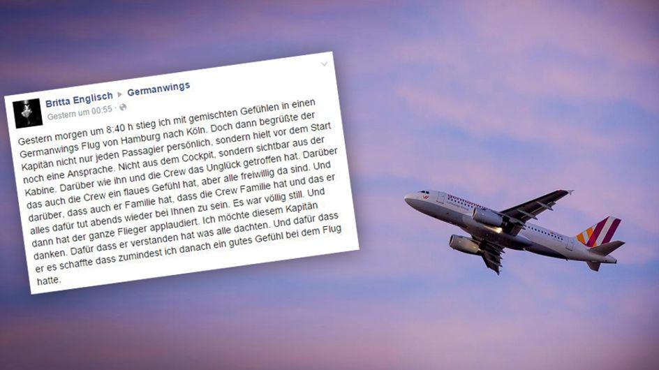 Unglaublich bewegend: Eine Passagierin findet rührende Worte für den Germanwings-Piloten, der ihr die Angst nahm