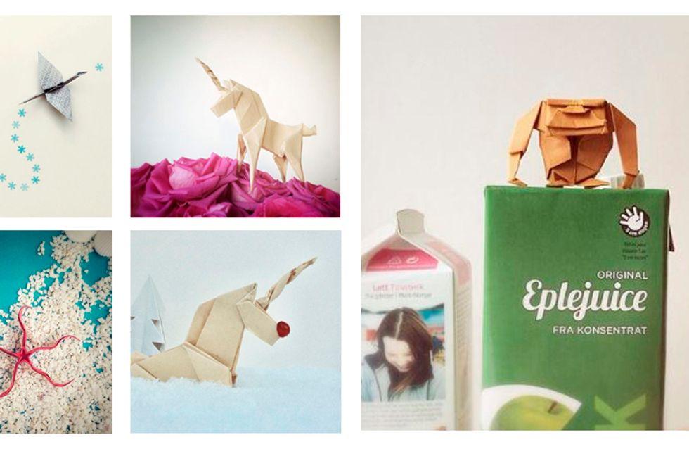 Origami de bichinhos + cenários com objetos do dia a dia = amor