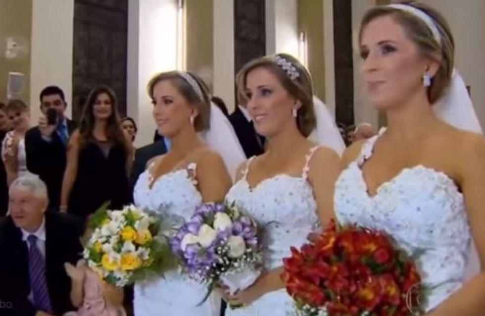 Ces triplées absolument identiques se sont mariées en même temps (Vidéo)