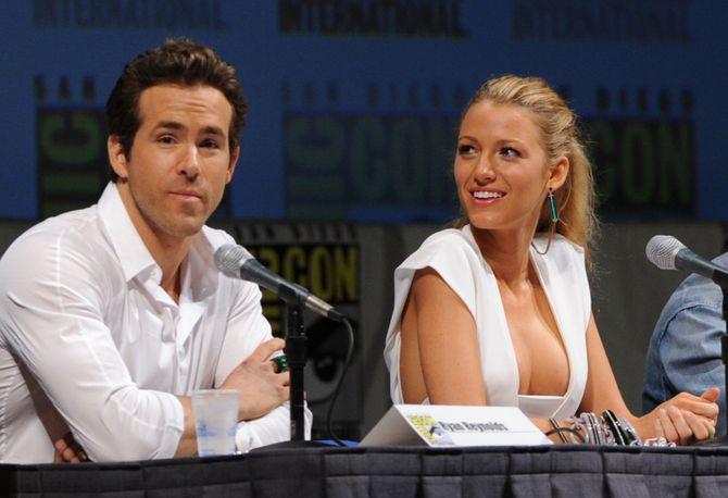 Ryan Reynolds et Blake Lively à une conférence de presse.