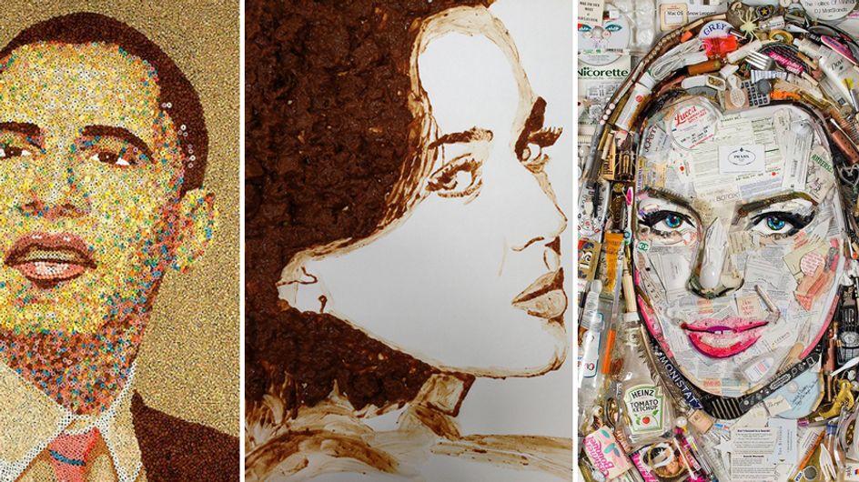 Artisti fino al midollo: ecco cosa succede quando appassionati d'arte ritraggono le star... con quello che trovano!