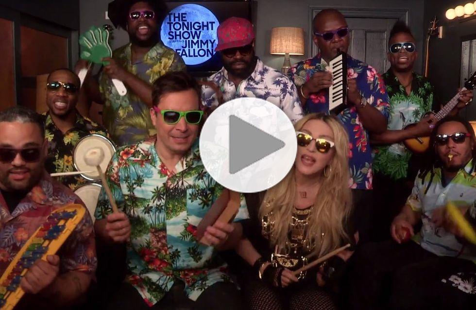 """Madonna et Jimmy Fallon revisitent le tube """"Holiday"""" avec des instruments pour enfants (Vidéo)"""