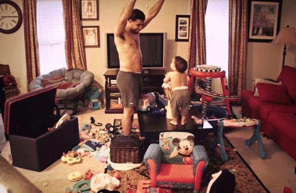 Dieses Video zeigt, was wirklich passiert, wenn man Papa und Sohn alleine zu Hause lässt